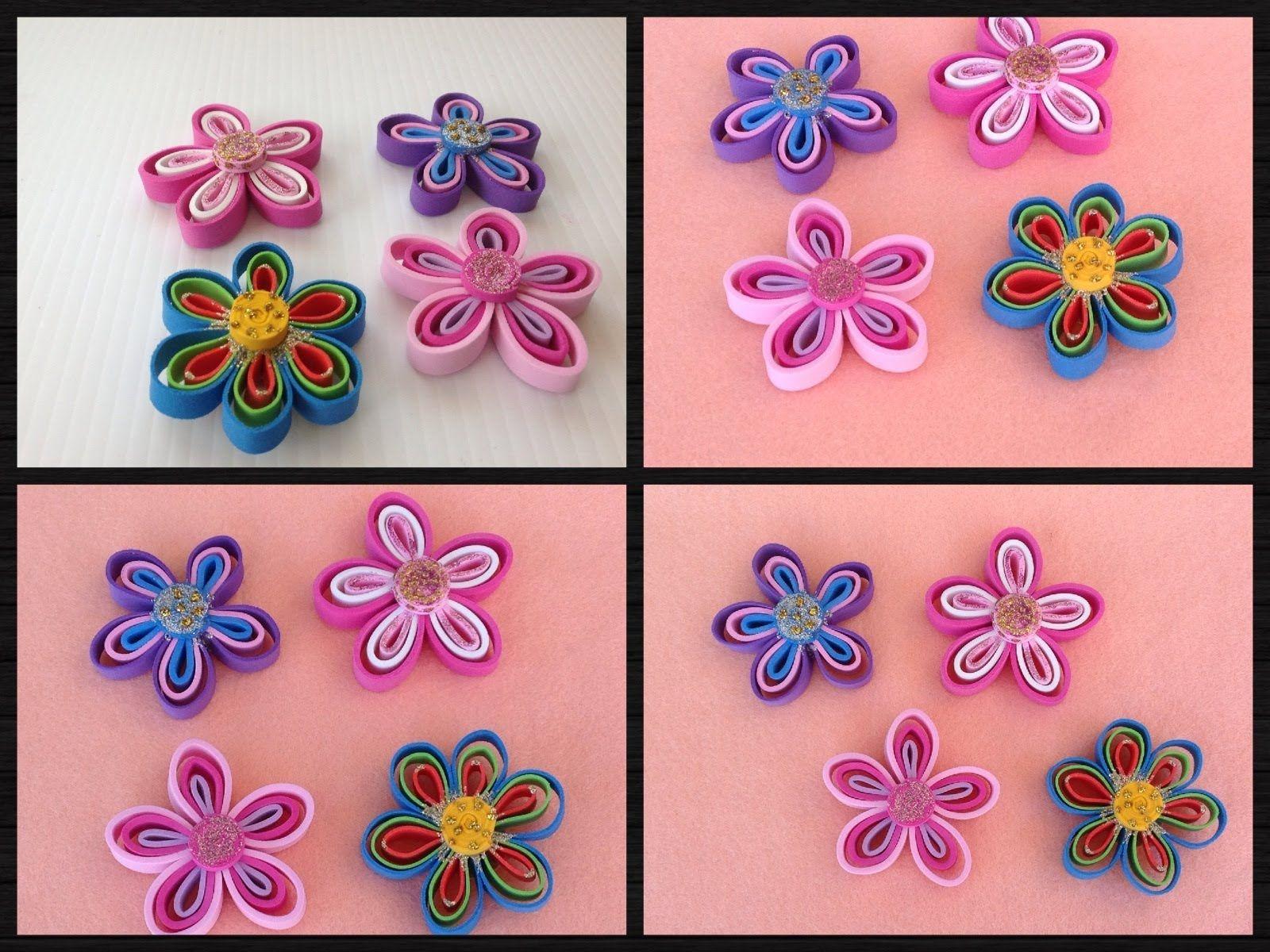Flores Hechas Con Tiras De Foamy O Goma Eva Foam Flowers