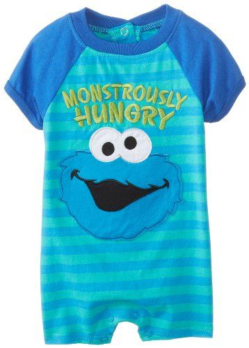 532c01f24 Sesame Street Baby-Boys Newborn 1 Piece Cookie Monster Romper