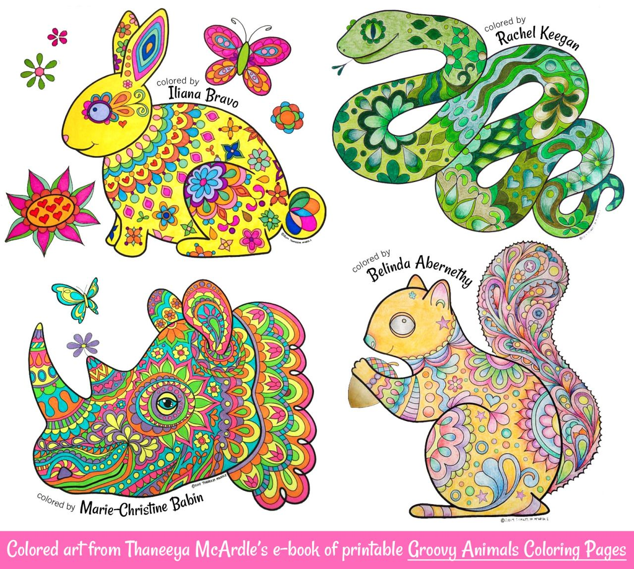 Examples Of A Colored Art From Thaneeya McArdles E Book Printable Groovy Animals Coloring Pages