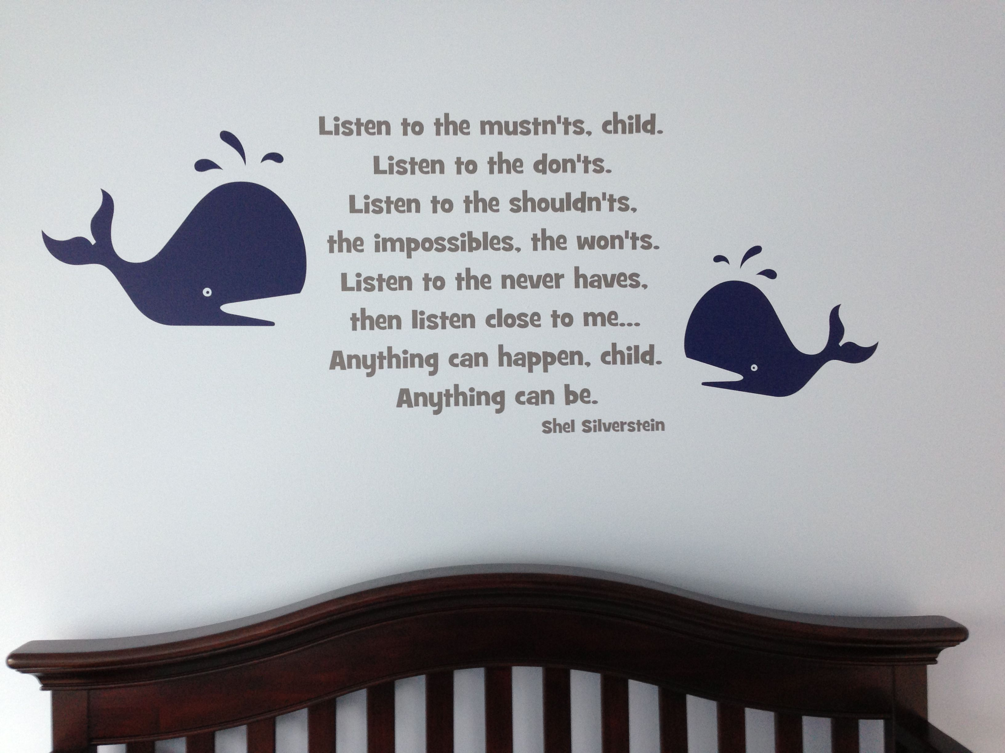 Shel Silverstein Wall Decal: Wall Decals. We Combined Whale Decals For The Under The
