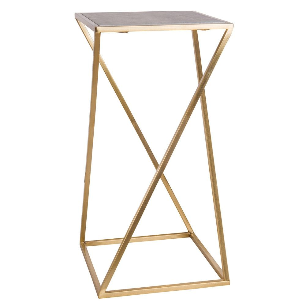 Marble and Gold Metal End Table | dekorace | Metal end ...
