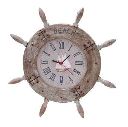 Benzara Wood Ship Wheel Clock Nautical Maritime Decor, 20-Inch