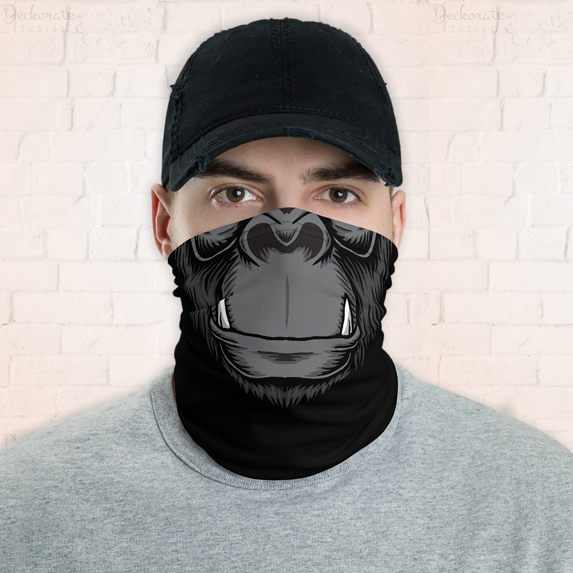 Gorilla gaiter neck warmer, cool animal black face mask