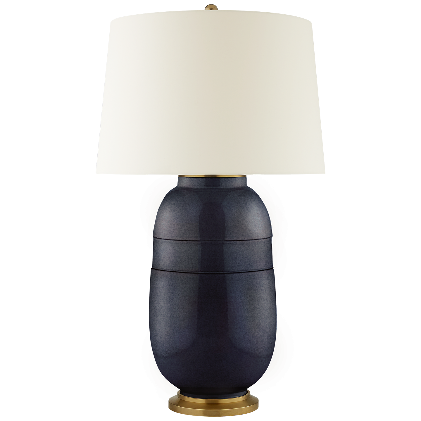 Newcomb Large Table Lamp By Christopher Spitzmiller In Mixed Blue Brown  With Natural Percale Shade |