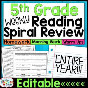 5th Grade Reading Homework or Morning Work | 5th Grade