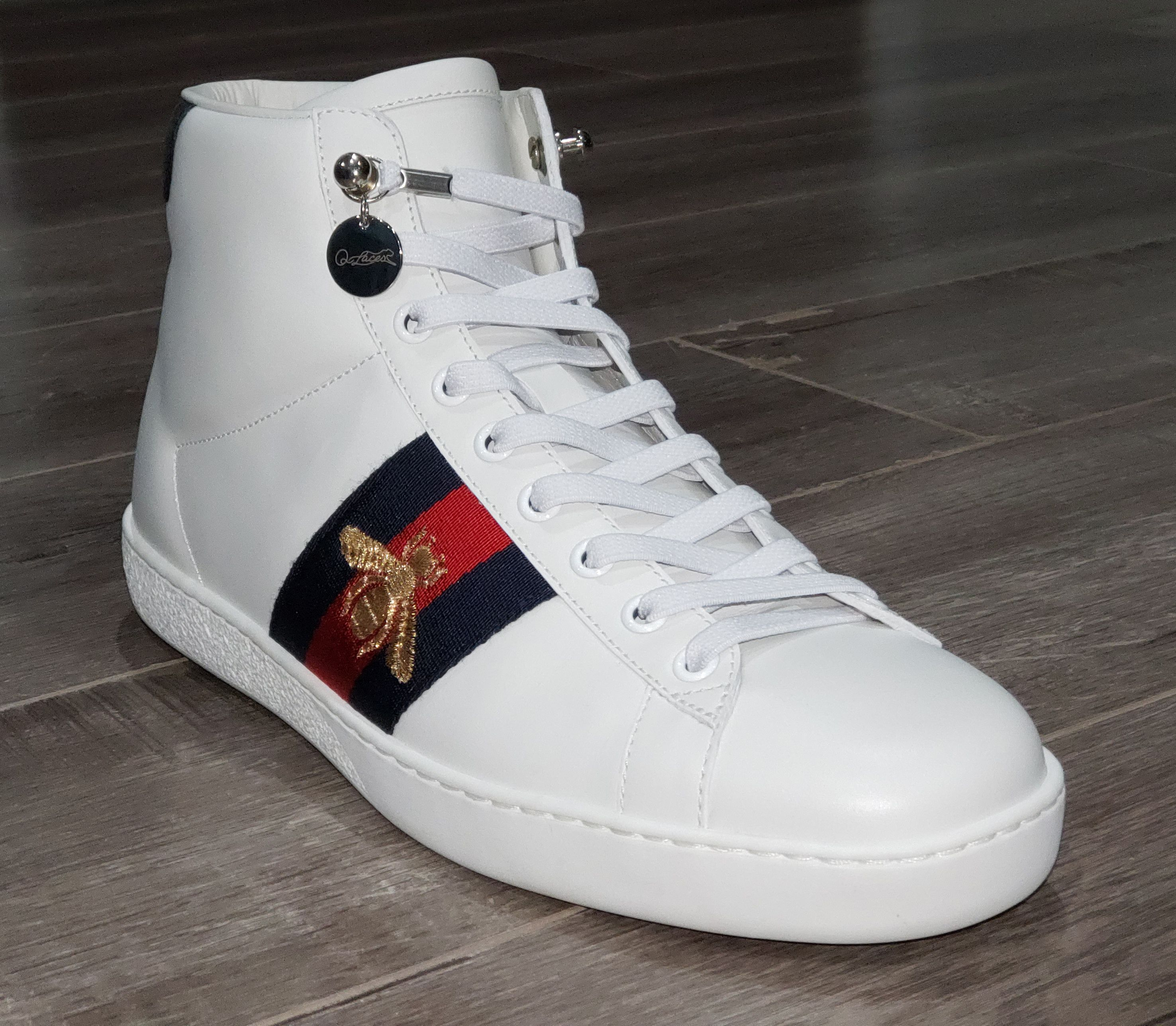 Shoe laces, Gucci high top sneakers