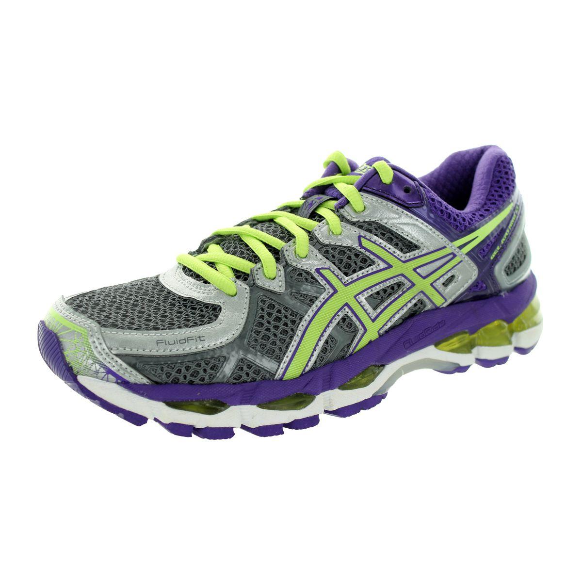 Asics Women's Gel-Kayano 21 Charcoal/Sharp Green/Purple Running Shoe