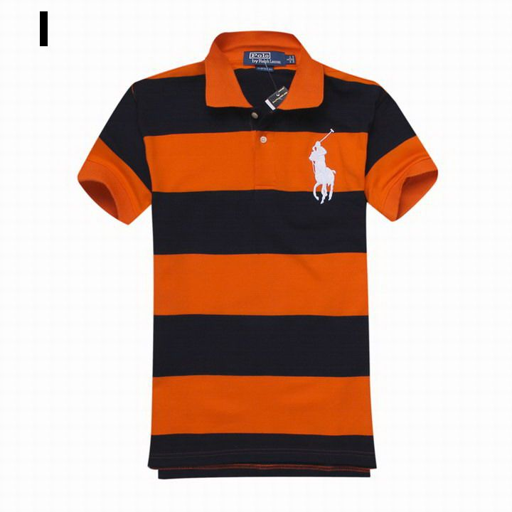 Polo Ralph Lauren Men Bold Striped Big Pony Polo Black Orange   Nice ... a638bf584715