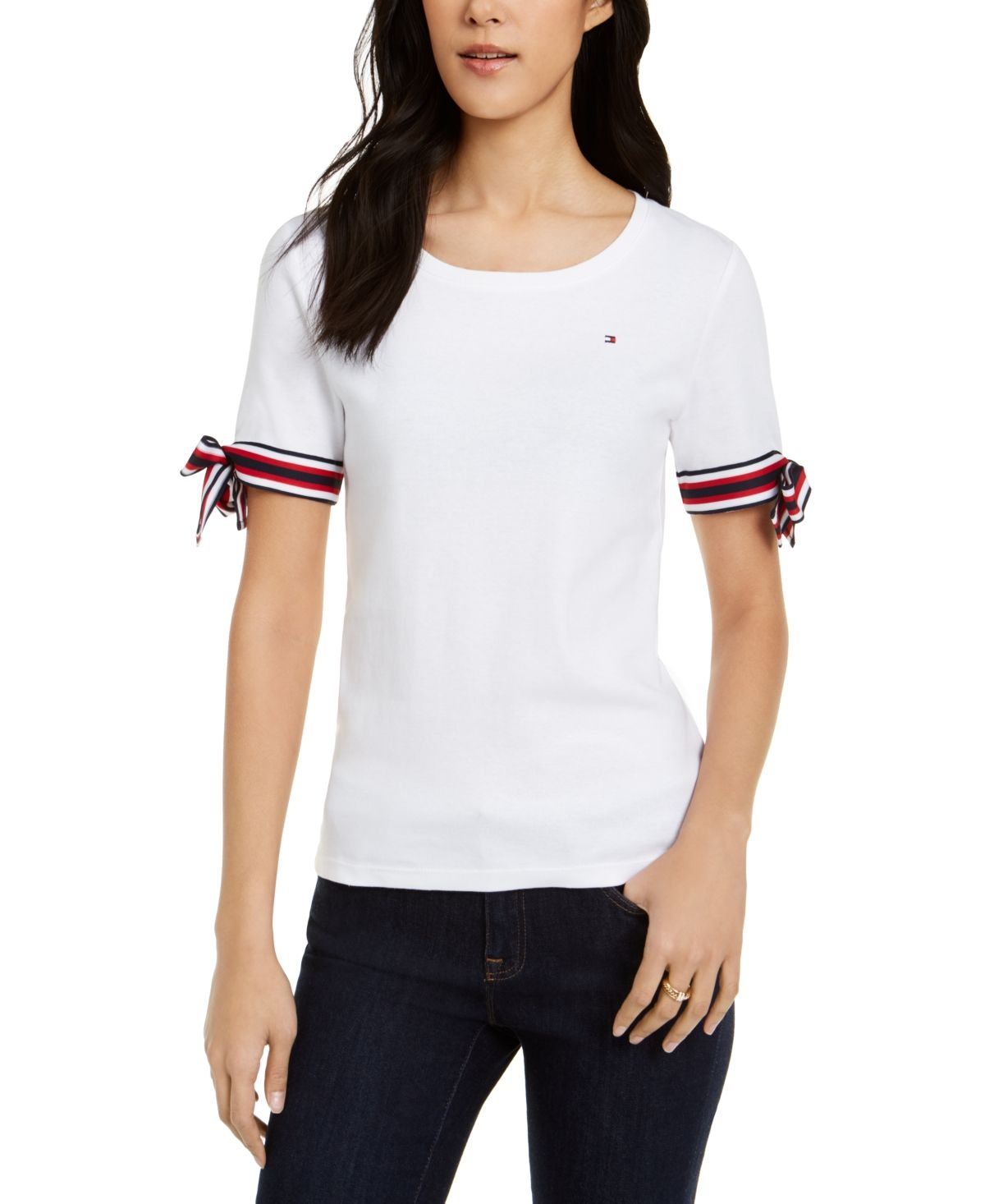 Tommy Hilfiger Cotton Tie Sleeve Top & Reviews Tops