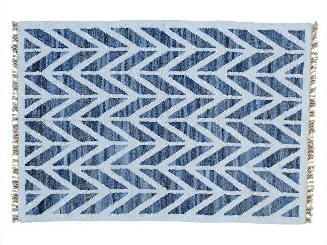 5'x7' Hand Woven Geometric Durie Kilim Denim Jeans Oriental Rug G22860