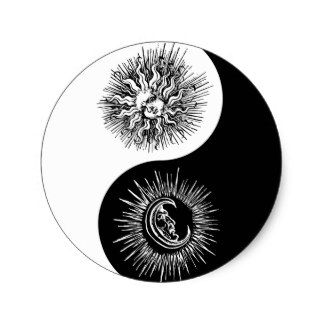 Pegatina Ovalada Luna Sun De Yin Yang Tattooes Piercings