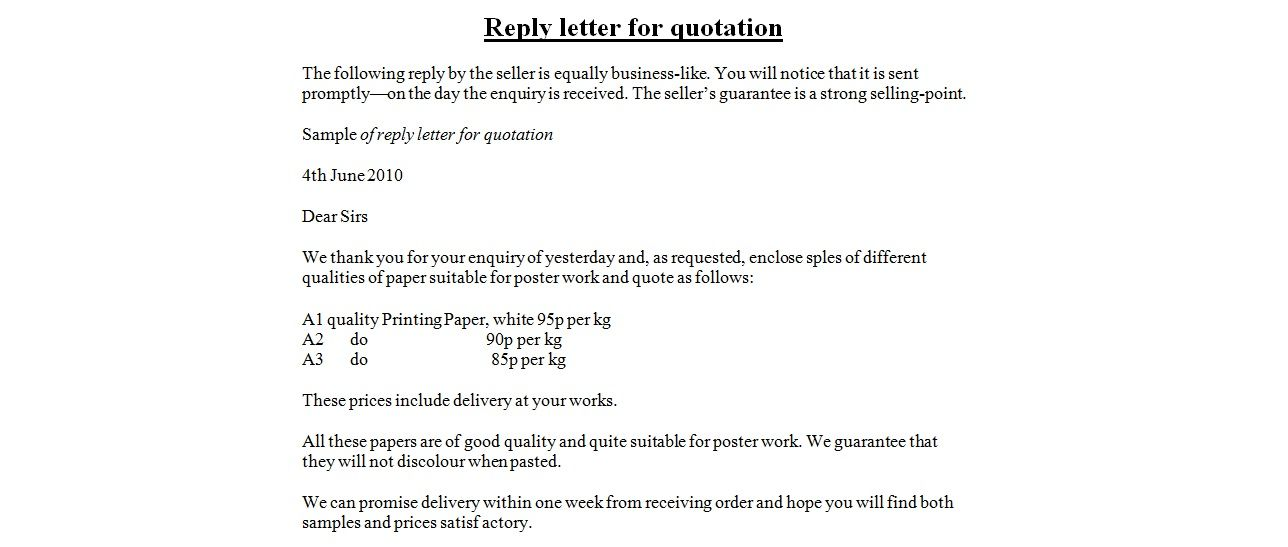 Reply Letter For Quotation Sample Download Business Quotationg