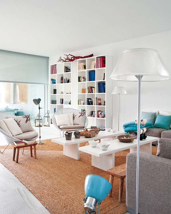 gorgeous space, white with turquoise. Great for beach house.