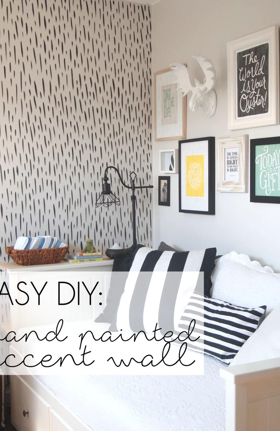 Love The Look Of Wallpaper But Not Themitment This Hand Painted Brushstroke Accent Wall Looks L Wall Bedroom Diy Accent Wall Bedroom Paint Accent Wall Bedroom