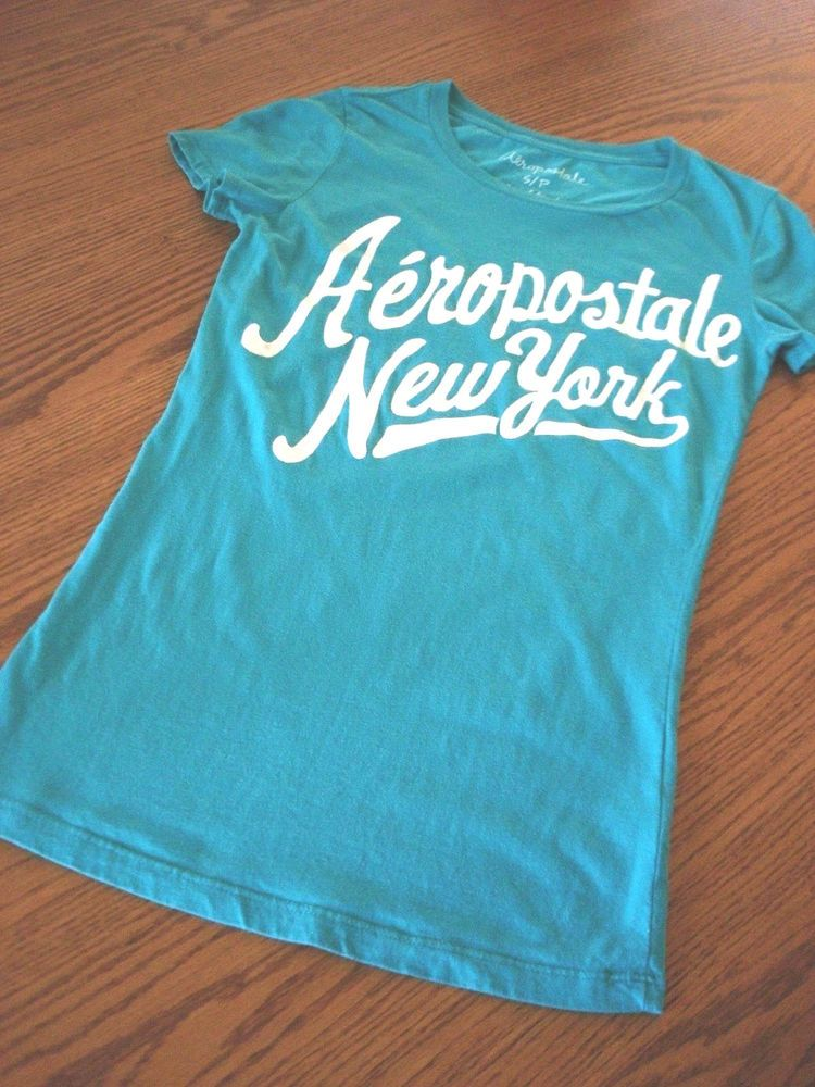 a7a1e3d58 Aeropostale Womens T-Shirt Junior Sz S Aqua Short Sleeve Scoop Neck ~ EUC  #Aropostale #GraphicTee