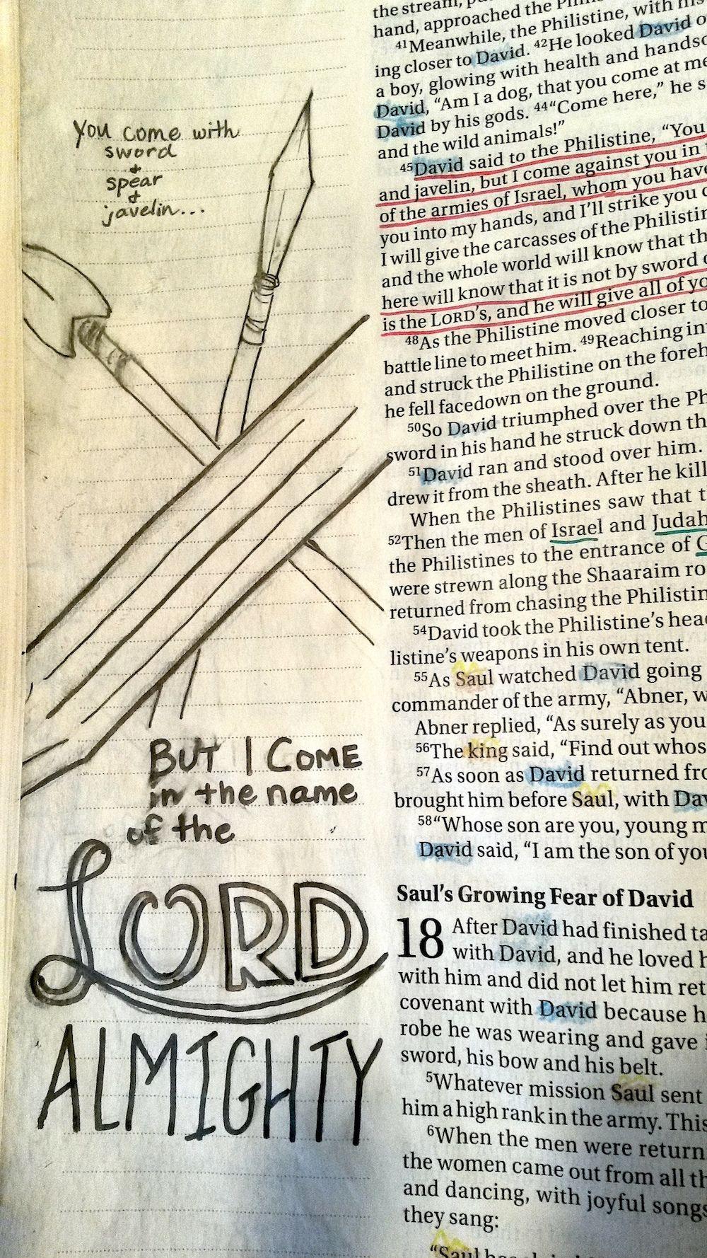 Bible Journaling 1 Samuel 17:45 David and Goliath