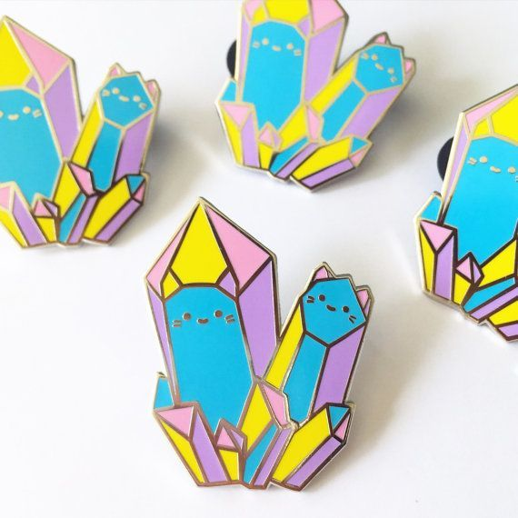 Rainbow Crystal Cats Enamel Brooch  XL by thesparklecollective
