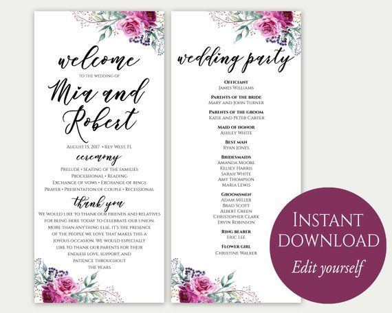 Wedding Program Template Ceremony Printable Template Printable