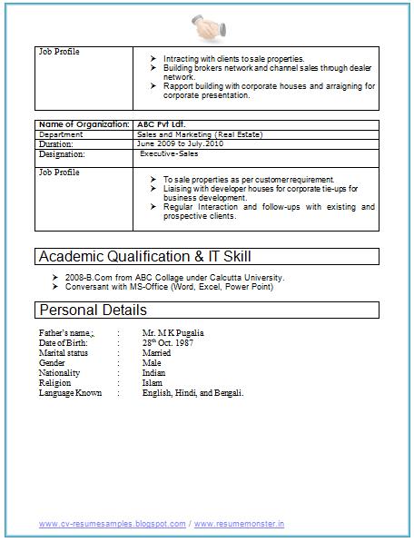 2 Years Resume Format Resume Format Sample Resume Format Job Resume Format Resume Format