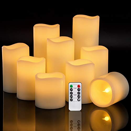 Ry King Set Of 9 Large Pillar Real Wax Flameless Led Battery Operated Flickering Electric Candles Electric Candles Led Candles Candles