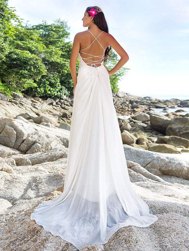 Sheath/Column Plus Sizes Wedding Dress - Ivory Sweep/Brush Train V-neck Chiffon - USD $ 129.99