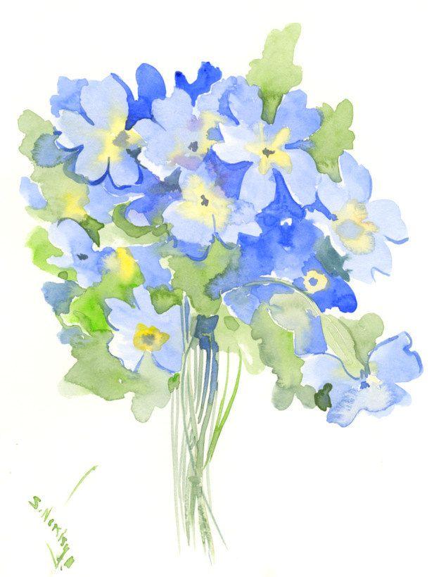 Light Blue Flowers Sky Blue Wall Art Original Watercolor