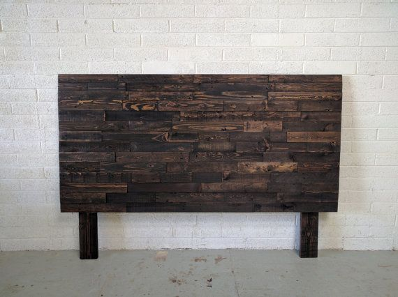 Reclaimed Wood Headboard In Espresso Dark Wood Head Board King Queen Full Twin Cal Bed Beach House Cabin Recycled Handmade Sengegavl Sovevaerelse