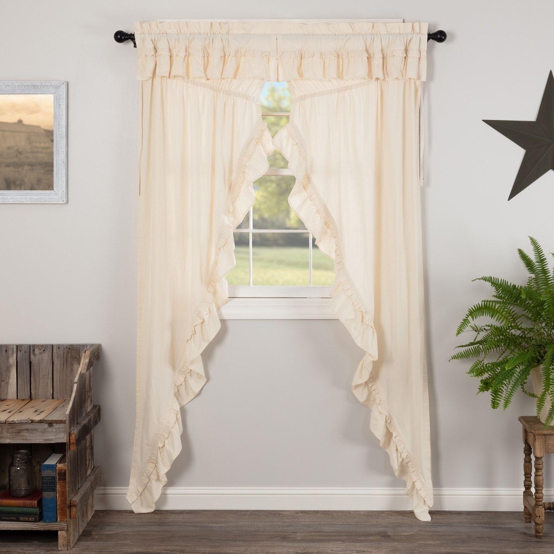 Farmhouse Curtains Vhc Muslin Ruffled Prairie Panel Pair Rod
