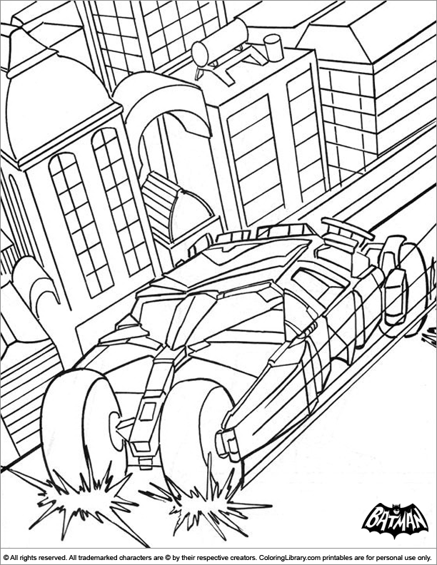 Batman Coloring Sheet Is Racing In His Batmobil