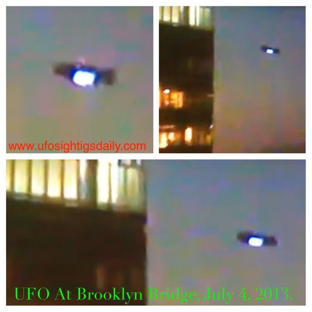 UFO Seen At Brooklyn Bridge During July 4, 2013 Fireworks Display Caught On Live Cam On 60 INCH TV!