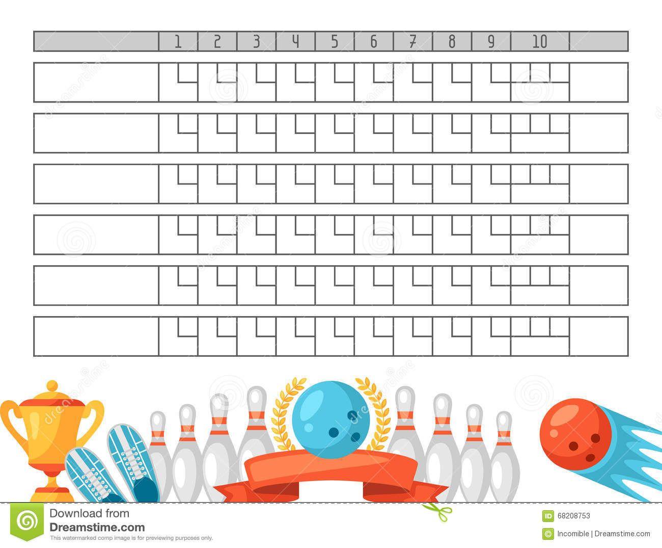 score sheet blank template scoreboard Bowling