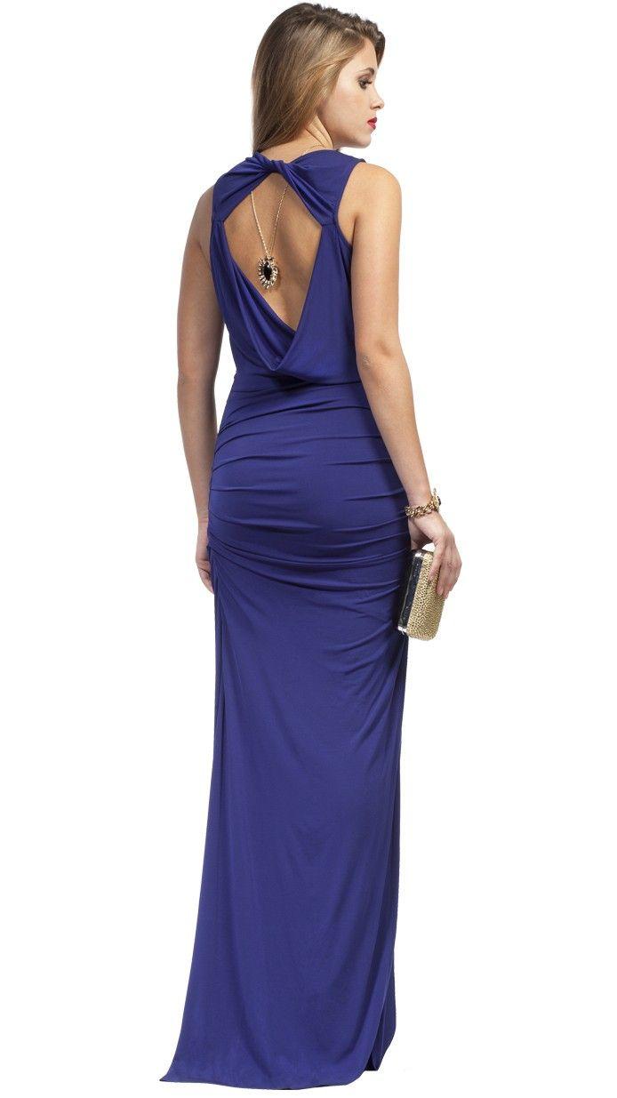 BCBG MAX AZRIA Vestido de fiesta largo color azul con espalda ...