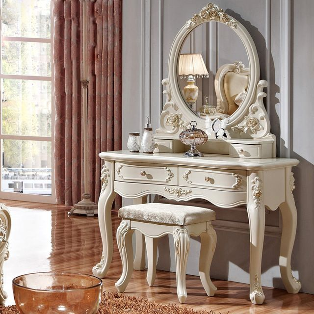 Aliexpress Com Buy Luxury French Style Pricess Dresser Makeup Dressing Table With Mirror Vanity Set From Reliable Makeup Shabby Chic Dresser Furniture Home