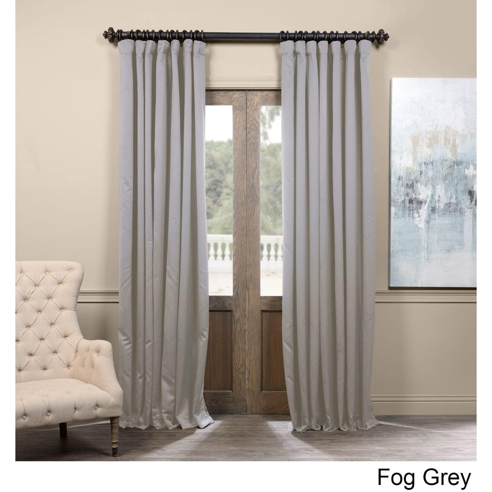 Exclusive Fabrics Extra Wide Thermal Blackout 96 Inch Curtain Panel 96 In Fog Grey As Is Item 108 Inch Curtains 96 Inch Curtains Panel Curtains