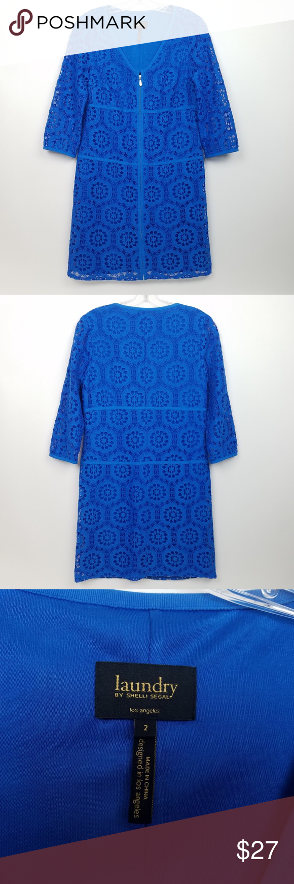 Laundry By Shelli Segal Women S Full Zip 3 4 Cobal Laundry By Shelli Segal Women S Full Zip 3 4 Cobalt Lace S Clothes Design Lace Shift Dress Fashion