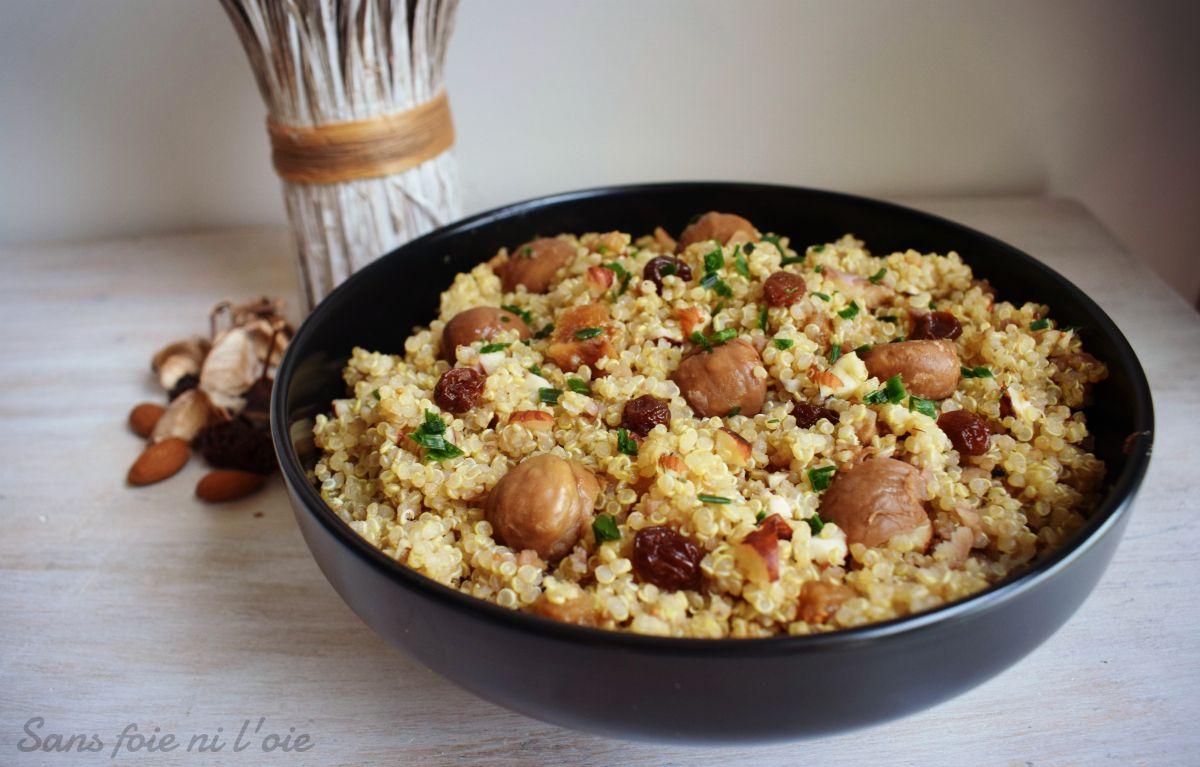 Quinoa aux marrons et fruits secs (vegan, sans gluten)