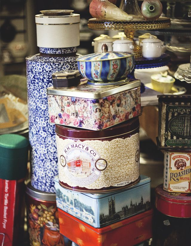 beautiful vintage tin containers