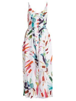 651a3424b01 Xylophone White-print button-down midi linen dress
