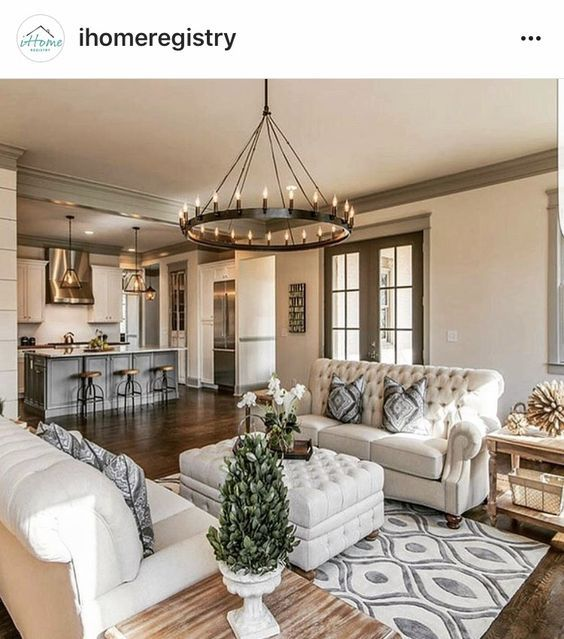 Perfect For The Library Two Small Couches Facing Each Other With An Ottoman In Between On A Cute Rug Farm House Living Room Home Brown Living Room