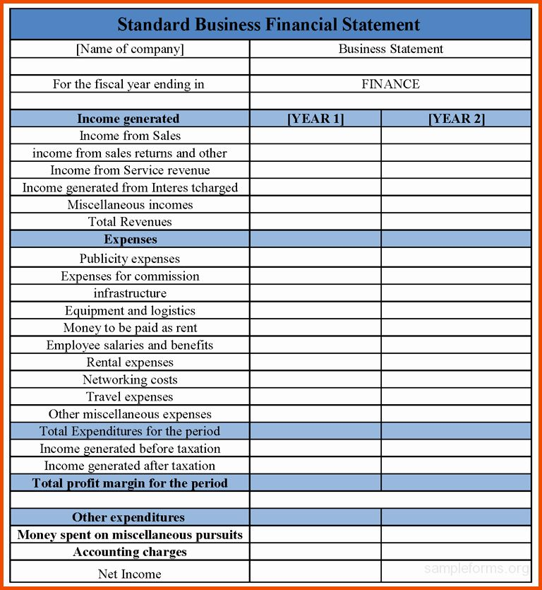 Small Business Statement Template in 2020