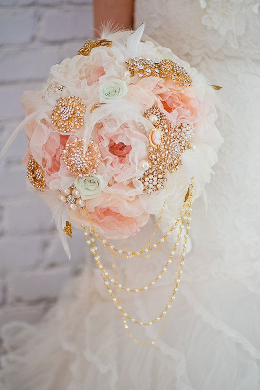 Custom Pastel Fabric Flower Brooch Bouquet, Blush Mint Silk Flower ...