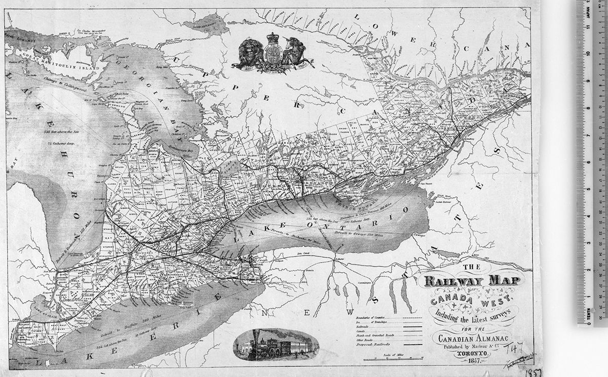 The Railway Map of Canada West (1857)