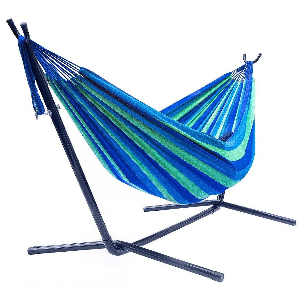 Sorbus Brazilian Double Hammock with Stand   Green, Blue Stripes ...