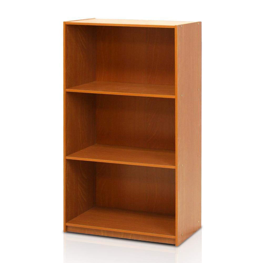 Furinno 39 5 In Light Cherry Wood 3 Shelf Standard Bookcase With Storage 99736lc In 2020 3 Shelf Bookcase Bookcase Storage Bookcase