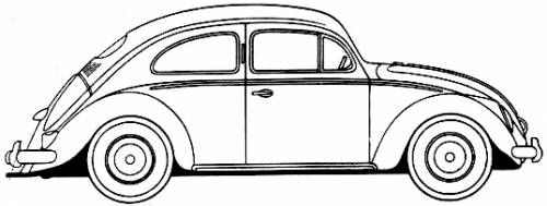 Bug Car Coloring Pages : Beetle car vw bug drawing outline