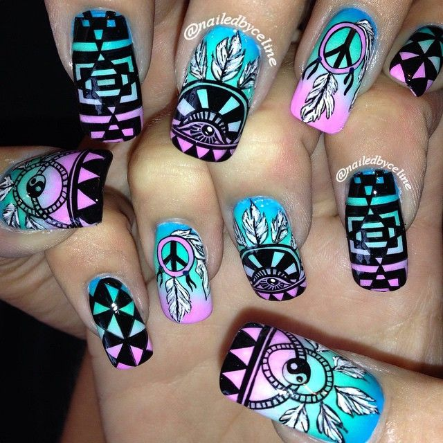 Hippie Boho Vibes For Taylornewmannn S Firefly Nails Nailedbyceline Nailart Inm Fireflymusicfestival
