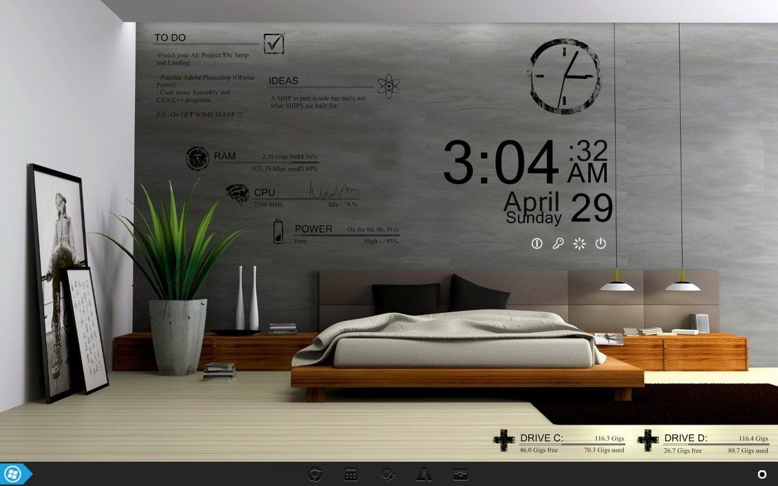 Pin by jung ha on rainmeter in pinterest bedroom modern