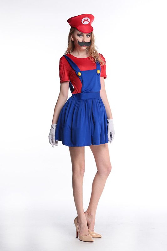 Click to Buy u003cu003c MOONIGHT Super Mario Costume Women Luigi Costume Clothing Sexy  sc 1 th 275 : luigi costume accessories  - Germanpascual.Com