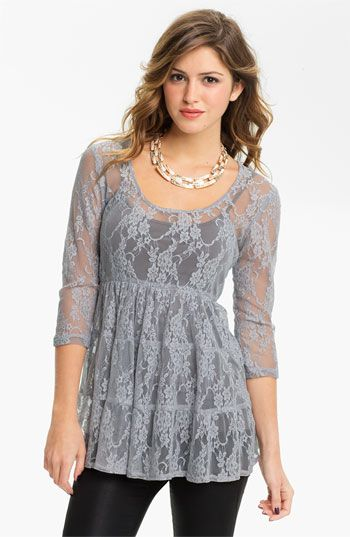 6570807d93d8a Nordstrom Love Squared Tiered Lace Babydoll Top in either Titanium ...