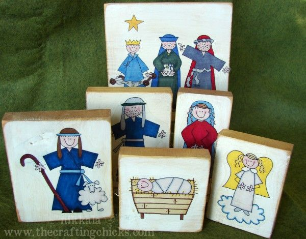 Wooden nativity blocks using clip art printed onto clear sticker paper, genius!  You can reprint and use it over and over again!